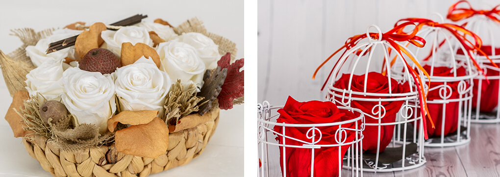 Preserved roses can last up to 3 years