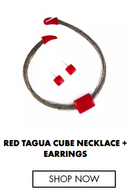 RED TAGUA CUBE NECKLACE + EARRINGS