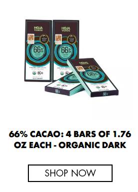 66% Cacao: 4 Bars of 1.76 Oz each - Organic Dark Chocolate
