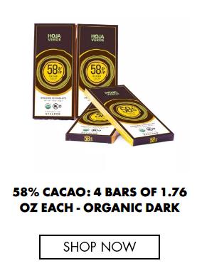 58% Cacao: 4 Bars of 1.76 Oz each - Organic Dark Chocolate
