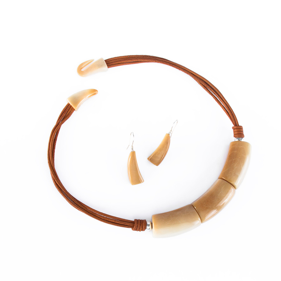 Caramel tagua tubes necklace + earrings