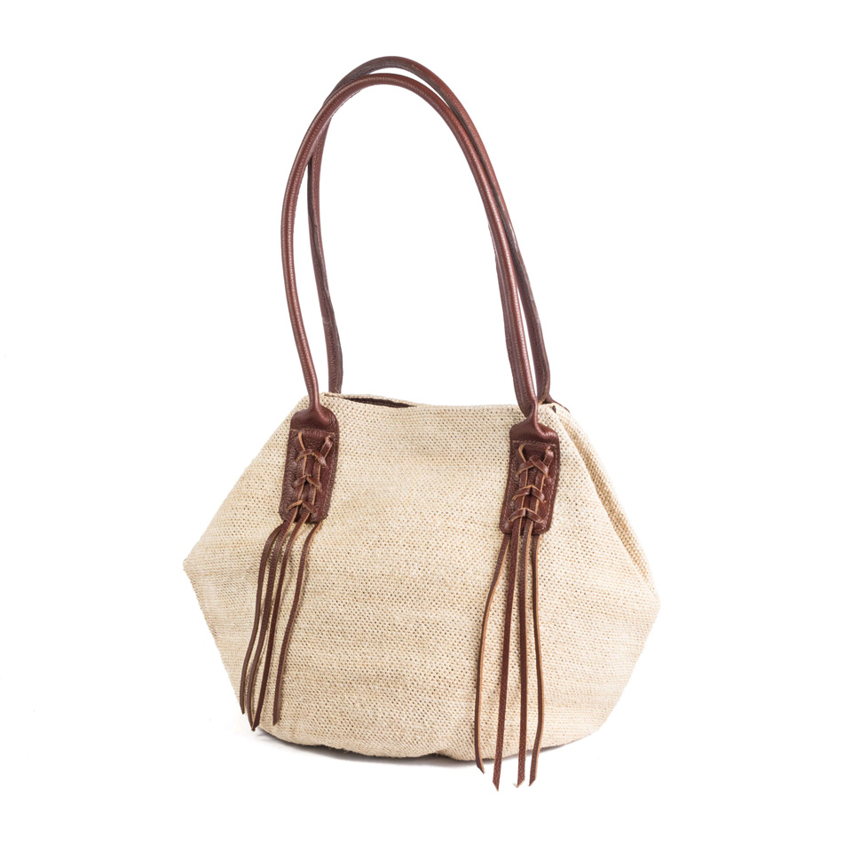 Braided Bag - Natural Light Brown Leather