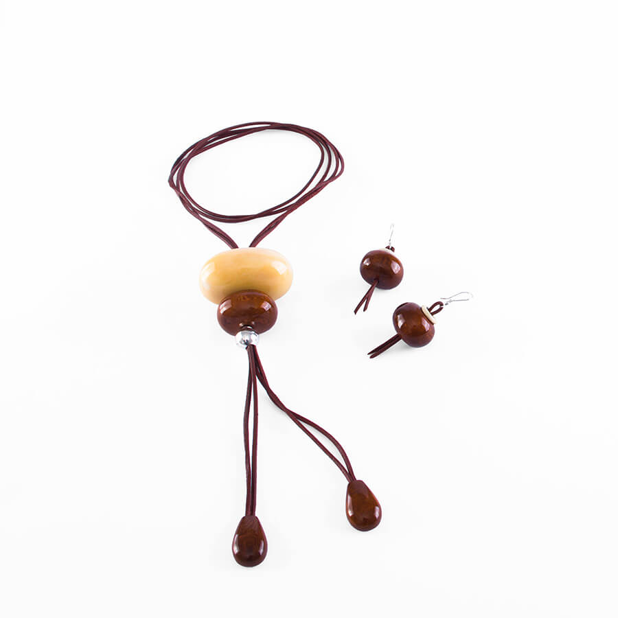 Tagua lariat necklace + earrings