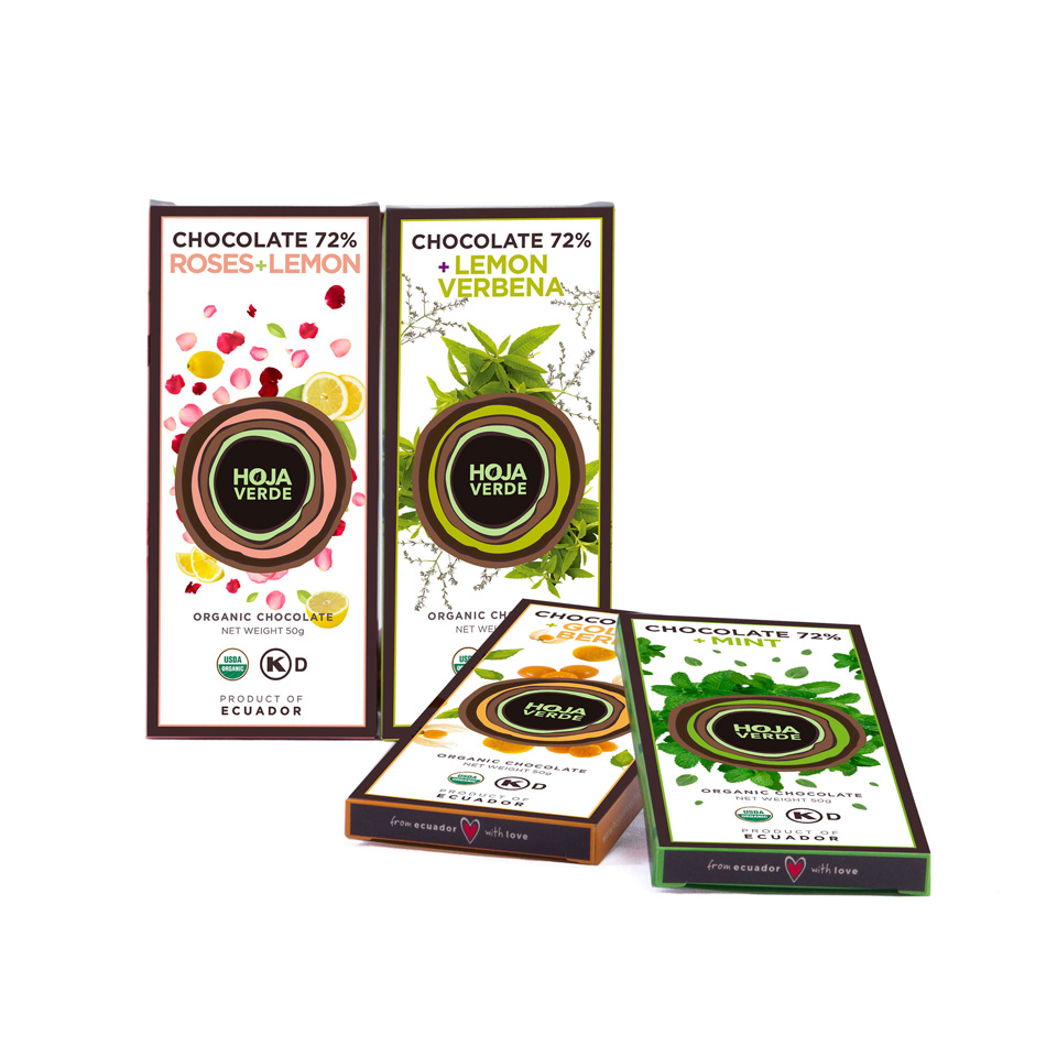 Fine Chocolate Pack Mint + Lemon Verbena + Orange + Roses & Lemon: 4 Bars of 1.76 Oz each - Organic Fine Dark Chocolate