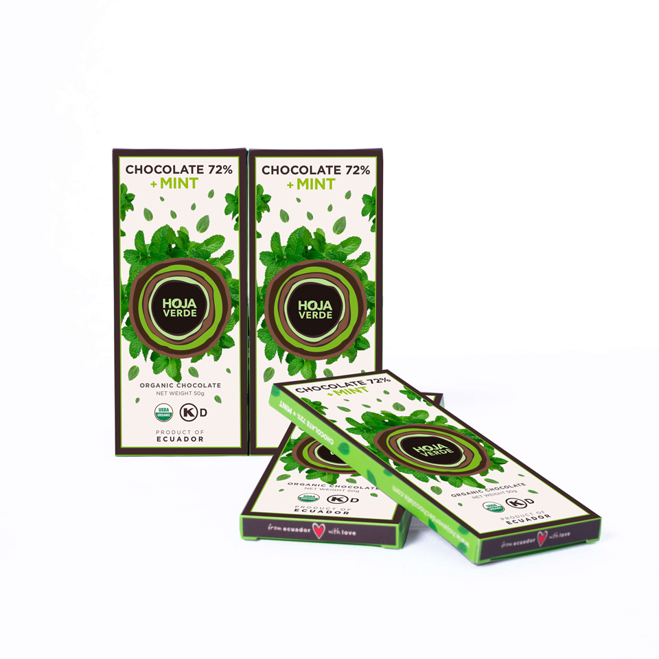 72% Chocolate + Mint: 10 Bars of 1.76 Oz each - Organic Dark Chocolate