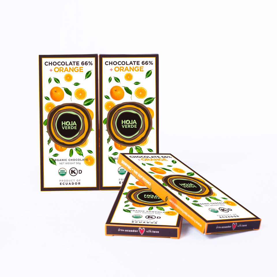 66% Chocolate + Orange: 4 Bars of 1.76 Oz Each - Organic Dark Chocolate
