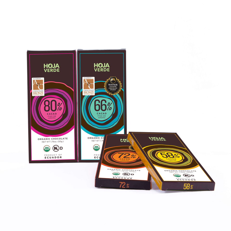 12 Pack 80% + 72% + 66% + 58% 4 Bars of 1 - Organic Dark Chocolate