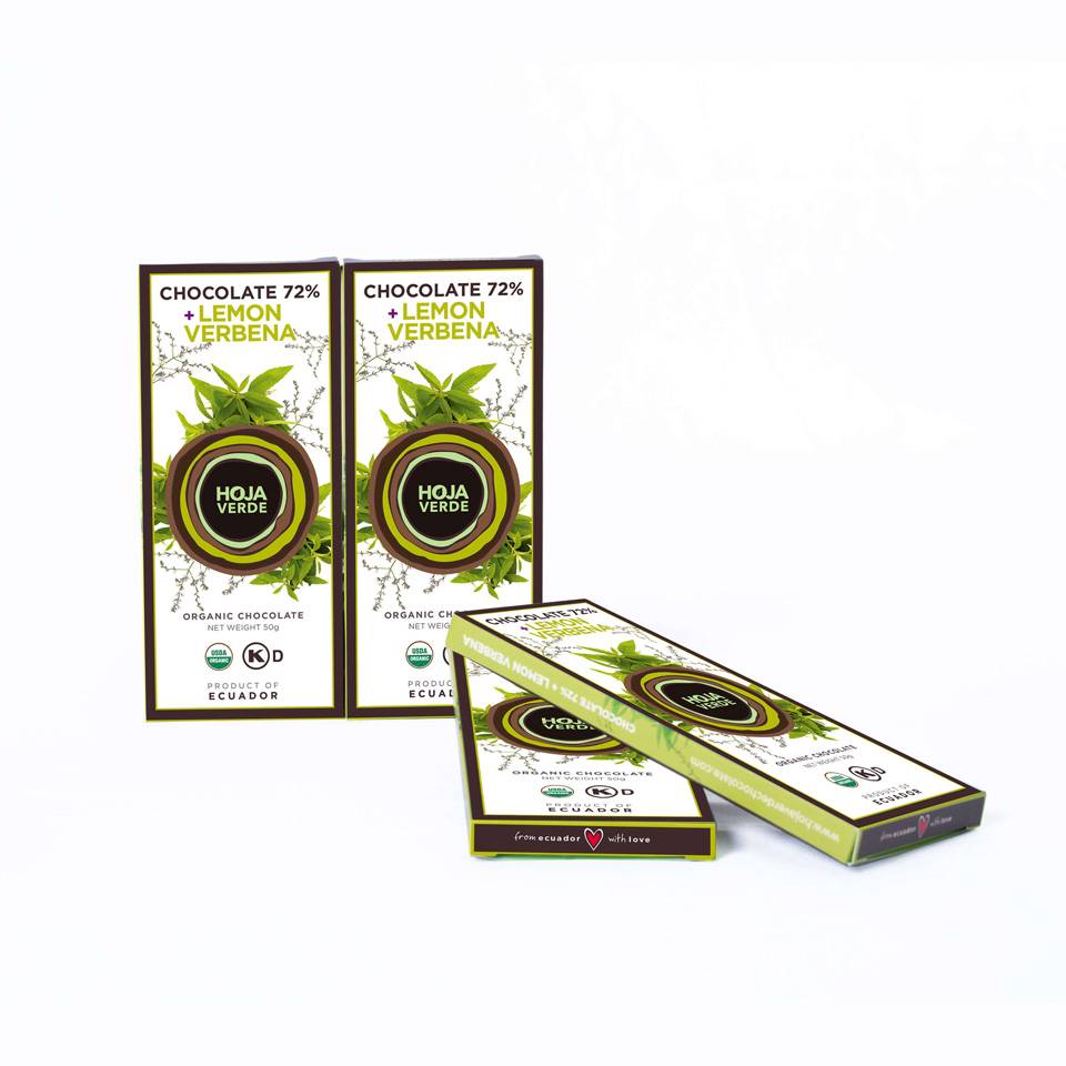 72% Chocolate + Lemon Verbena : 4 Bars of 1.76 Oz each - Organic Dark Chocolate