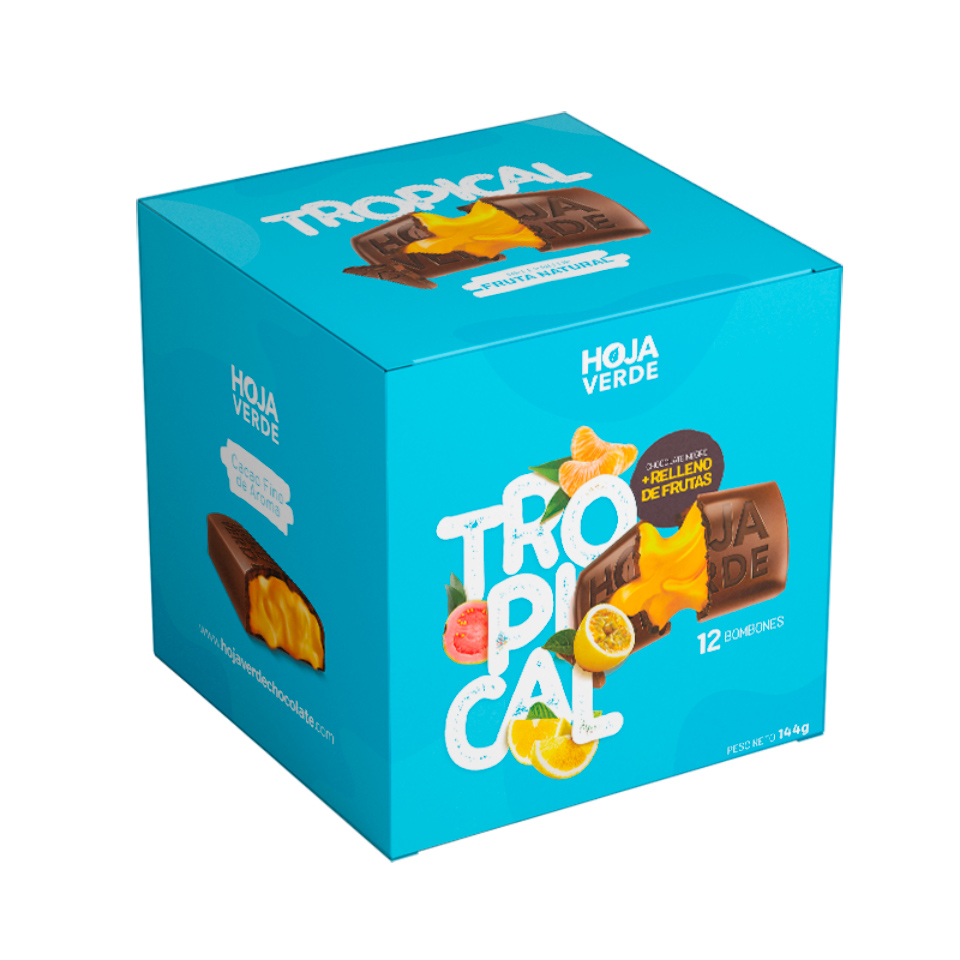 Tropical Box: 12 Chocolates Of 0.42 Oz each - Organic Fine Dark Chocolate