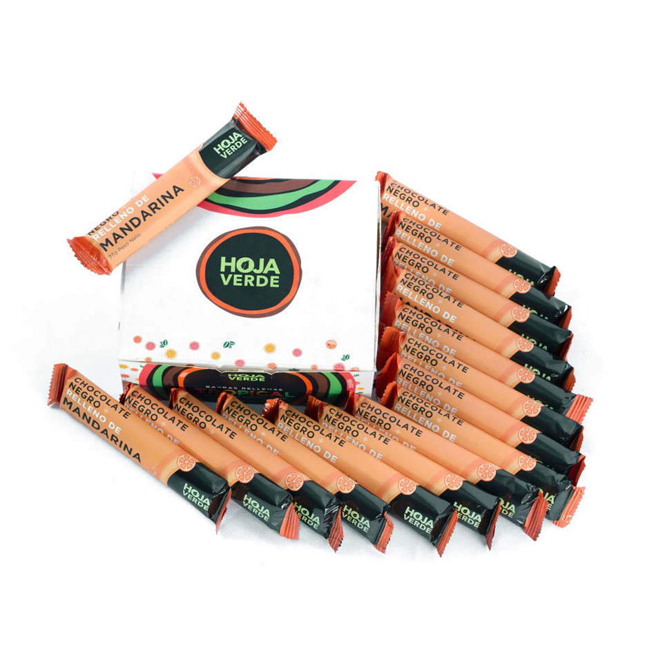 Dark Chocolate Filled With Tangerine: 16 Bars of 1.23 Oz each - Organic Dark Chocolate