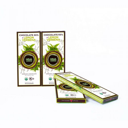 66% Chocolate + Lemon Verbena : 10 Bars of 1.76 Oz each - Organic Dark Chocolate